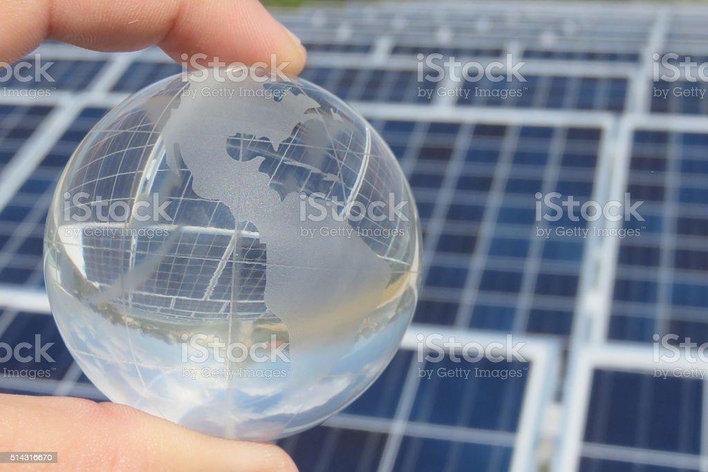 Solar Panel Globe stock photo