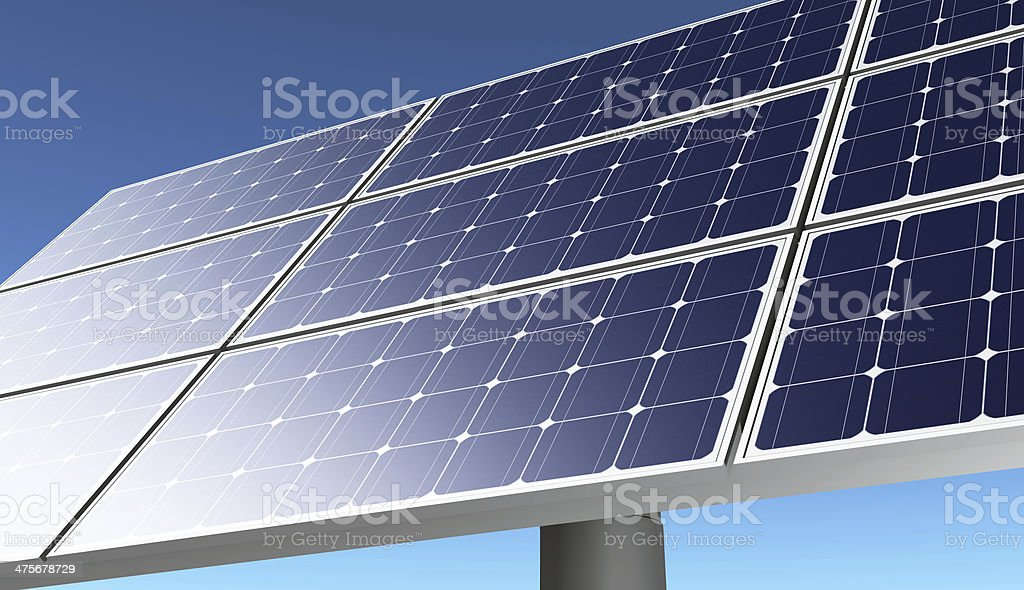 Solar panel in a blue sky stock photo