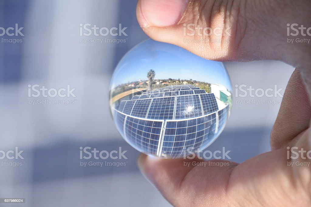 Solar panel IN A crystal ball stock photo