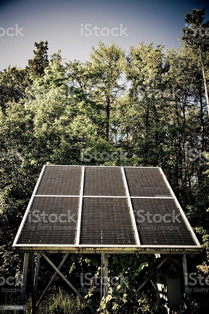 Solar Panel in Nature 04 (Retro) royalty-free stock photo