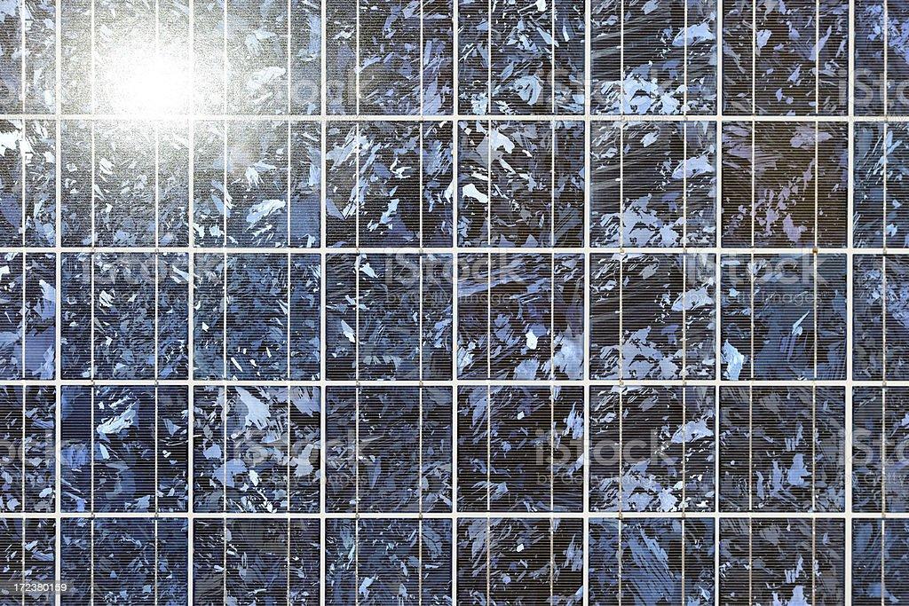 solar panel in the sun stock photo