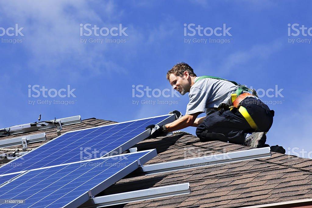 Solar panel installation royalty-free stock photo