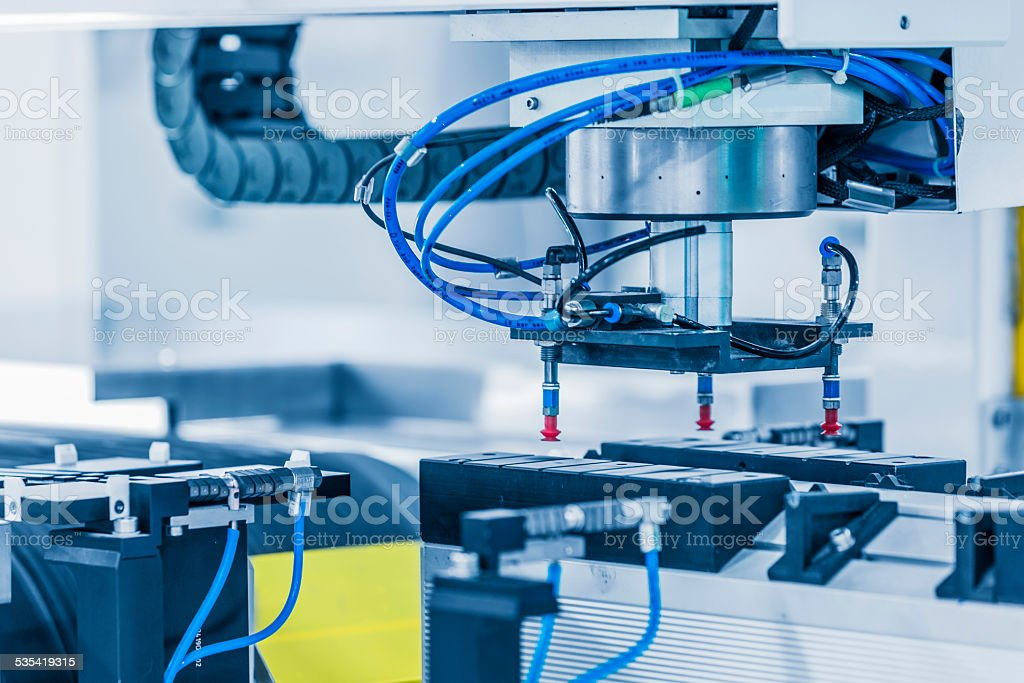 solar panel manufacturing stock photo