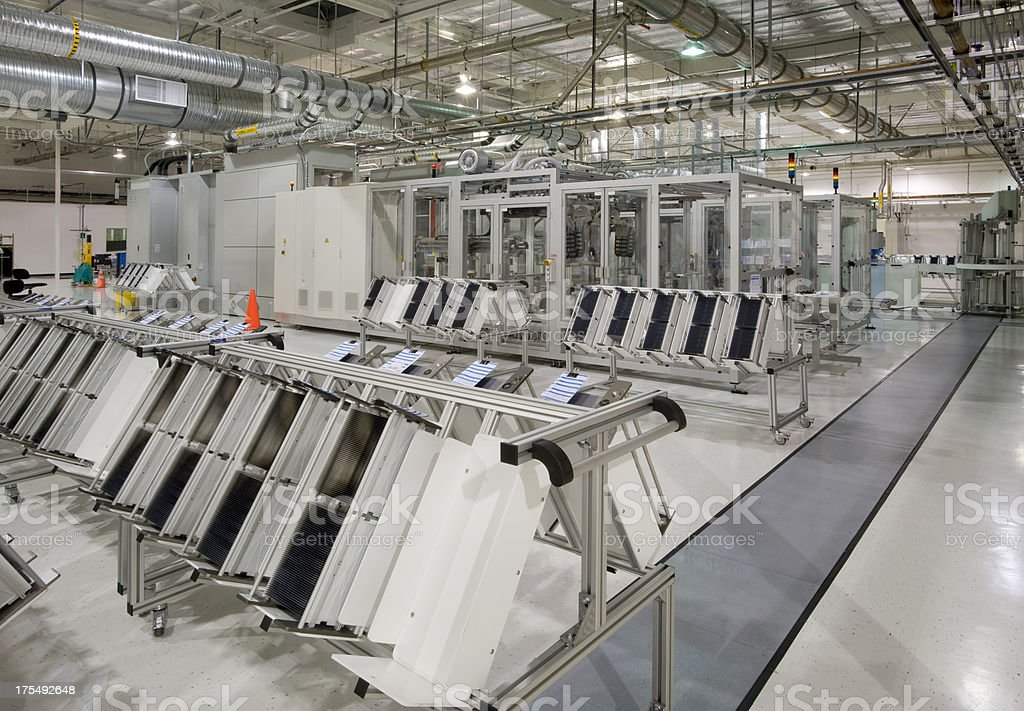 Solar Panel Manufacturing Plant stock photo