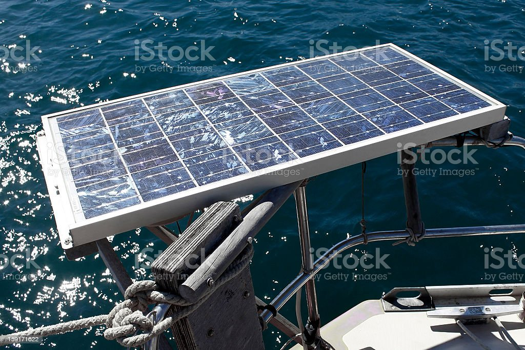 Solar panel of a boat royalty-free stock photo