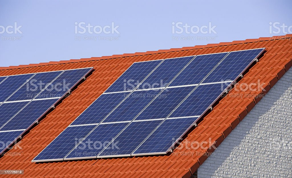 Solar panel on roof royalty-free stock photo