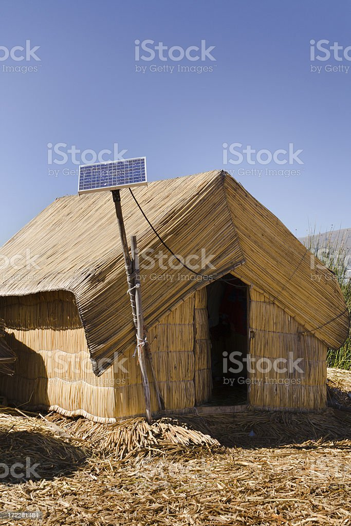 Solar Panel on Rural House for Power, Lake Titicaca, Peru royalty-free stock photo