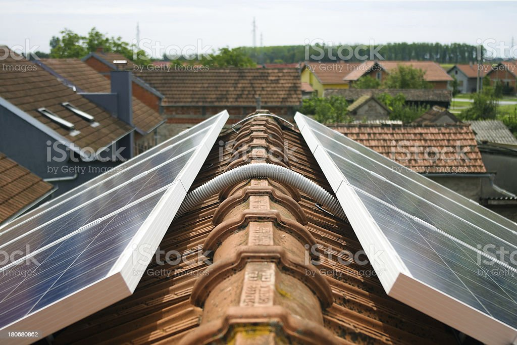 Solar panel on the roof detail stock photo