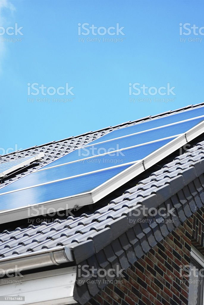 Solar panel on the rooftop stock photo