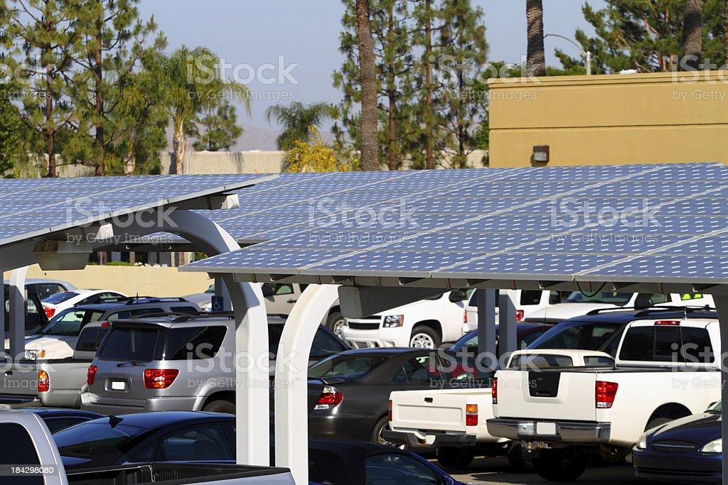 Solar Panel Parking Lot stock photo
