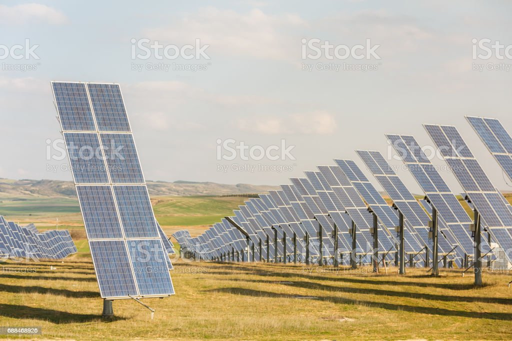 Solar panel, photovoltaic, alternative electricity source with blue sky stock photo