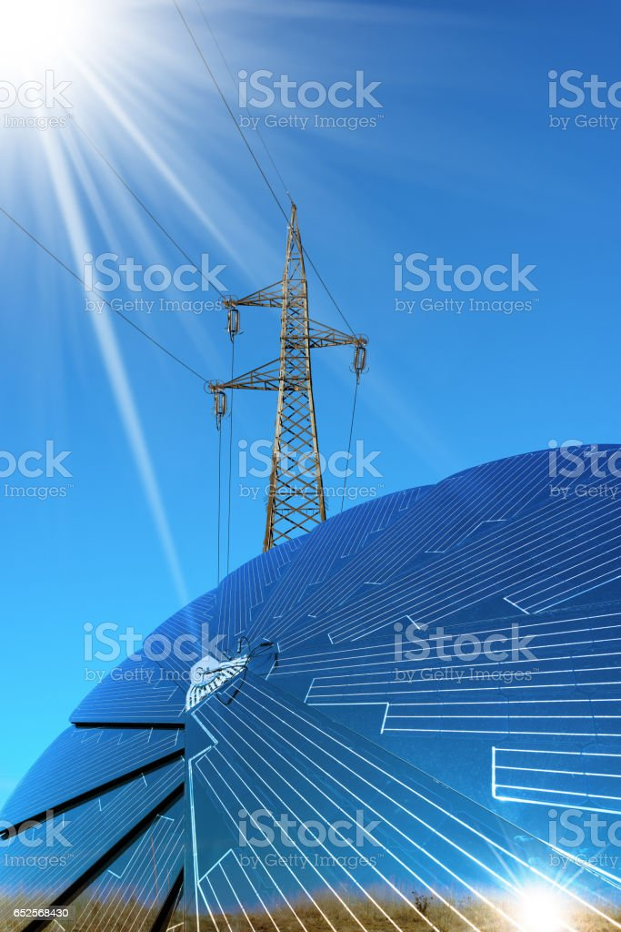 Solar Panel - Power Line and Sun Rays stock photo