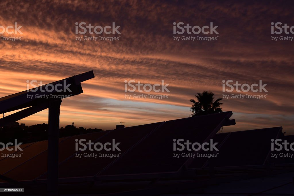 Solar panel silhouette stock photo