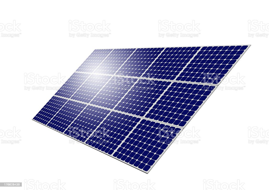 Solar Panel System with sun reflection royalty-free stock photo
