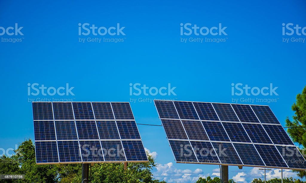 Solar Panel Twins Energy Our Future stock photo