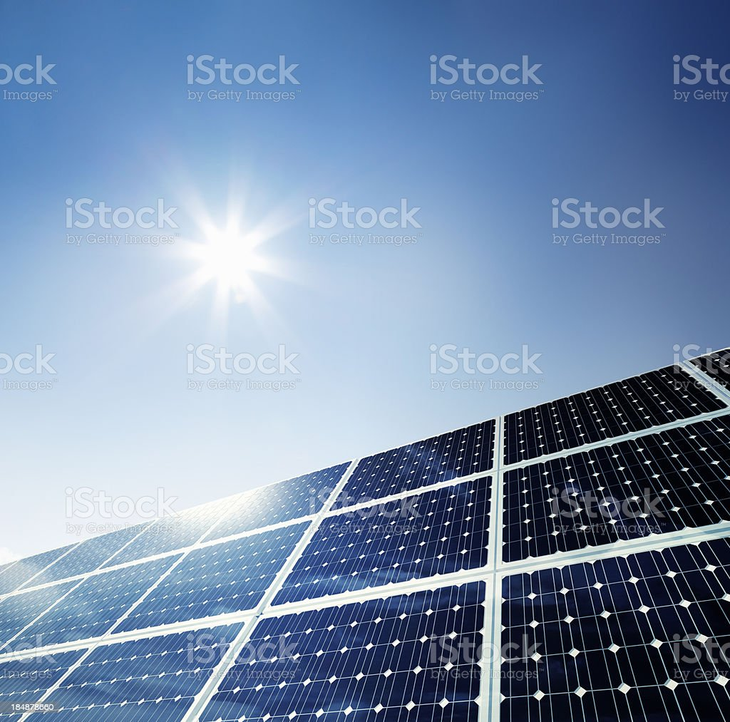 Solar Panel Under Clear Sky stock photo