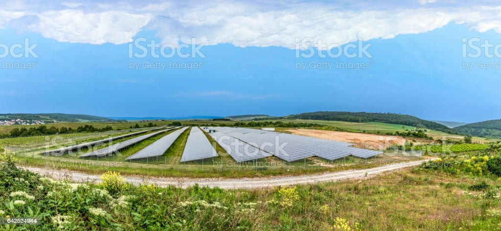 solar panel under cloudy sky in Germany stock photo