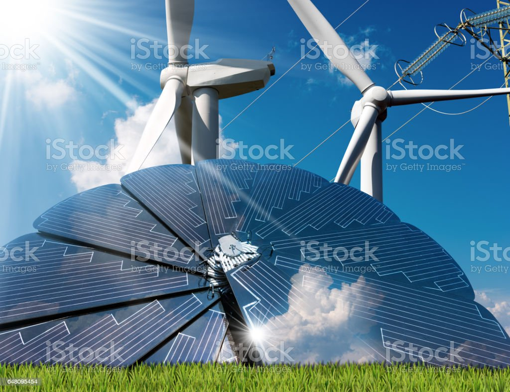 Solar Panel - Wind Turbines - Power Line stock photo