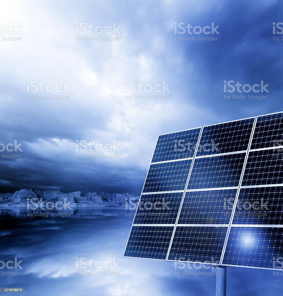 Solar Panel with blue cloudy sky royalty-free stock photo