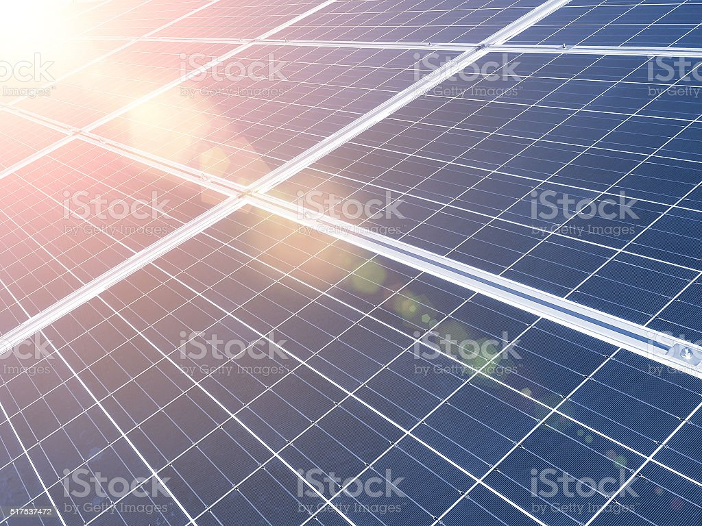 Solar Panel with Bright Sunlight stock photo