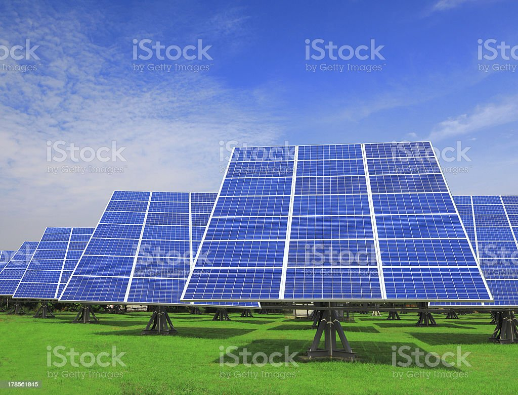 Solar Panel with green grass royalty-free stock photo