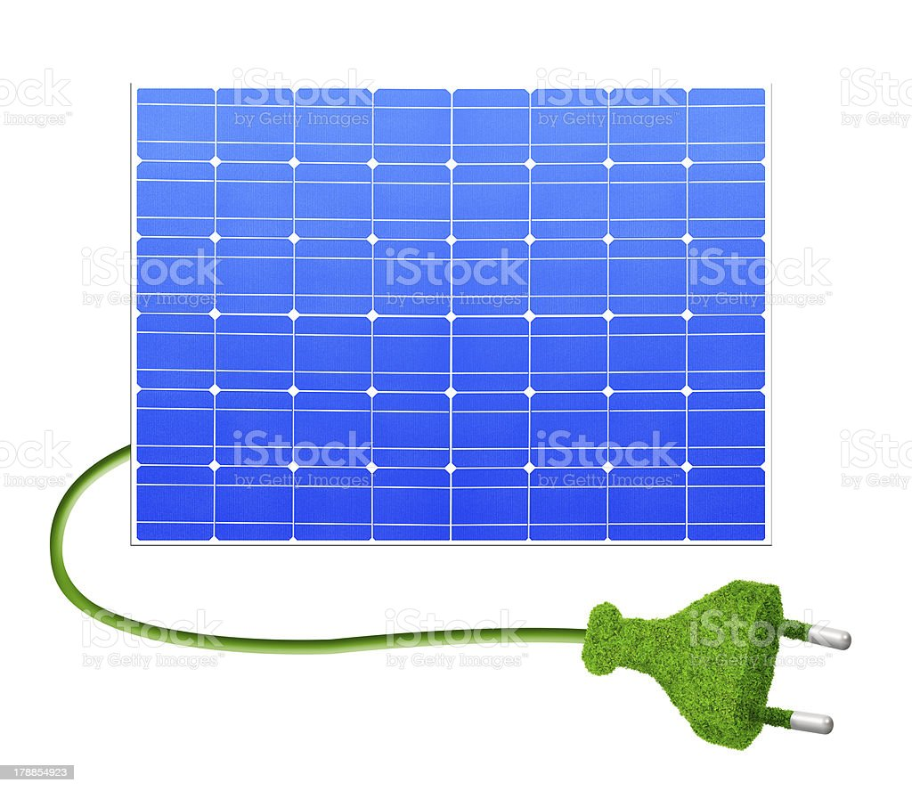 Solar panel with plug royalty-free stock photo