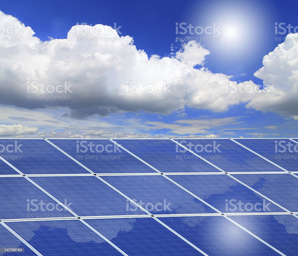 Solar Panel with reflection of blue sky royalty-free stock photo