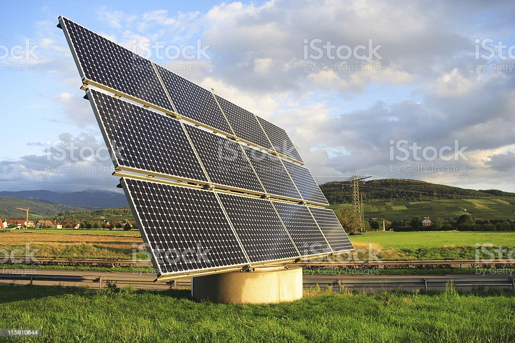 Solar panel with sun tracking system stock photo