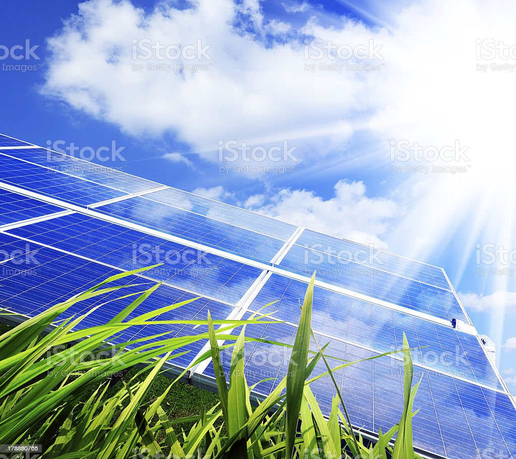 Solar panels absorbing sunlight stock photo