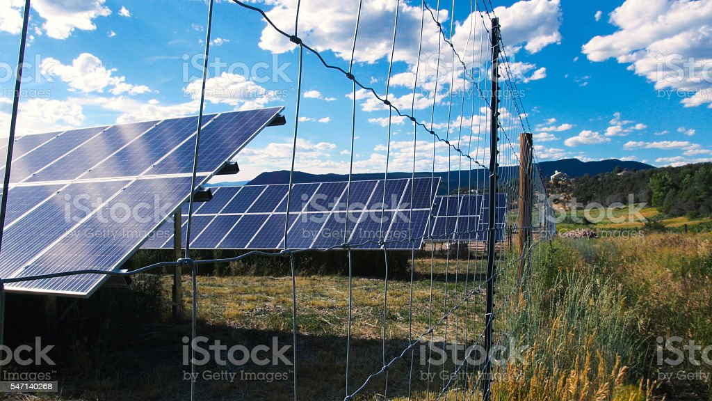 Solar Panels Absorbing The Energy Of The Sun stock photo