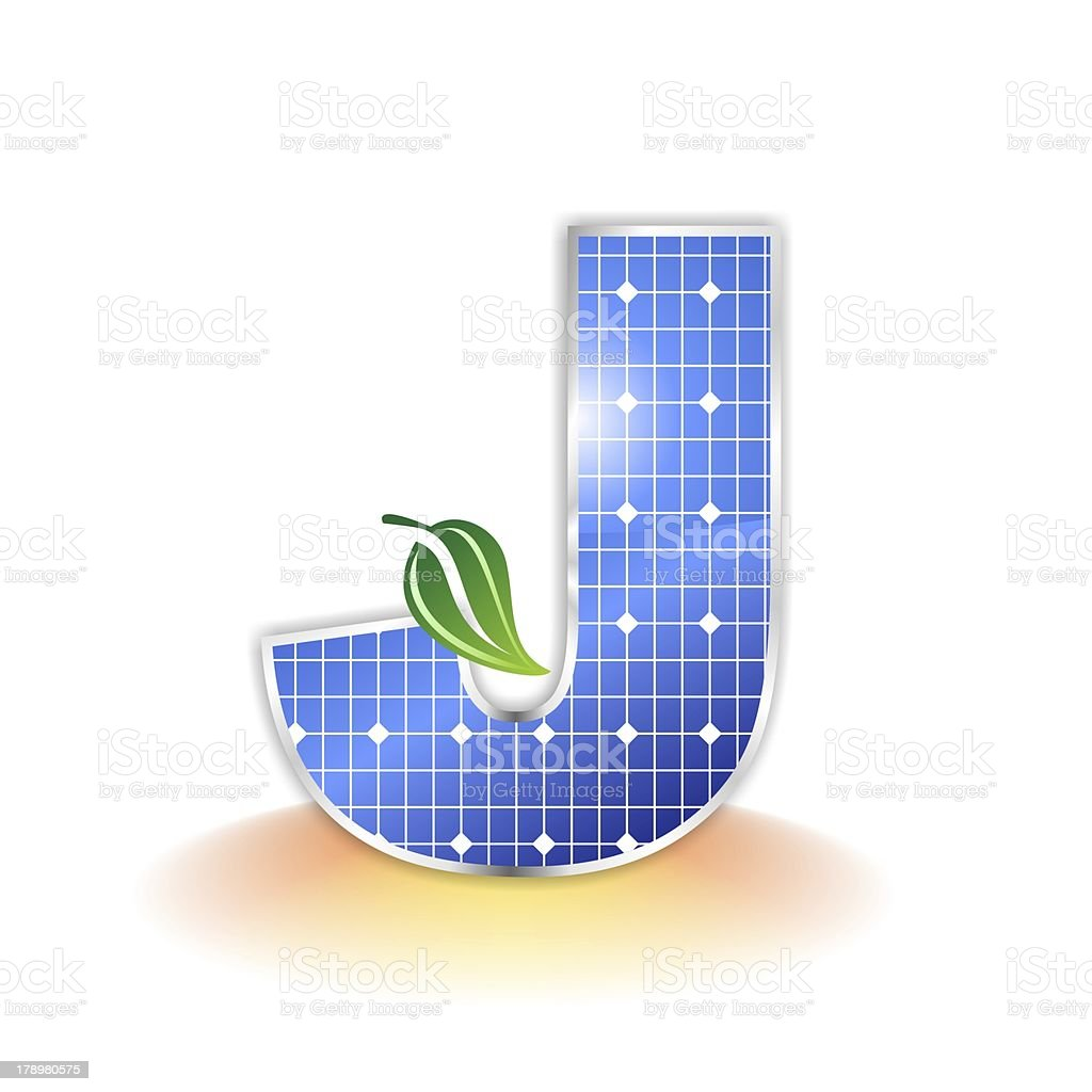 solar panels alphabet letter J royalty-free stock photo