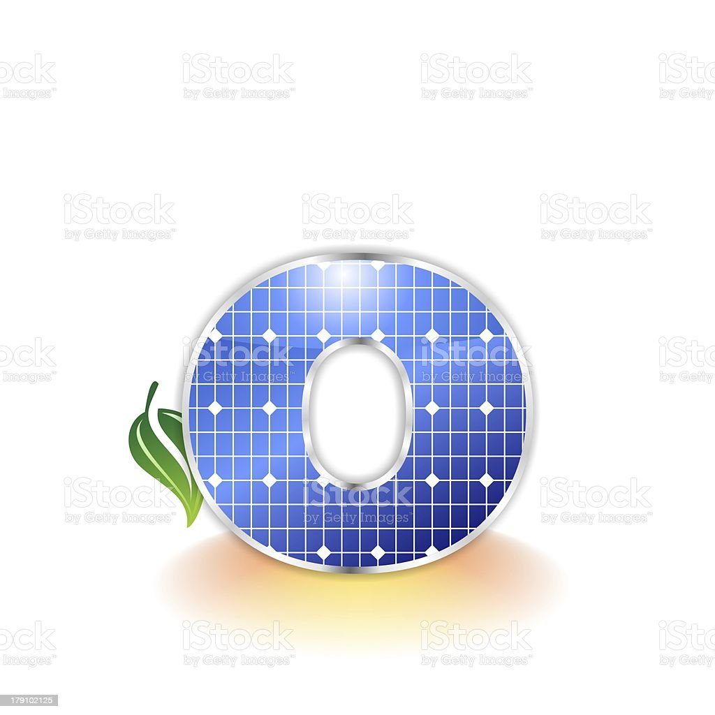 solar panels alphabet letter o royalty-free stock photo