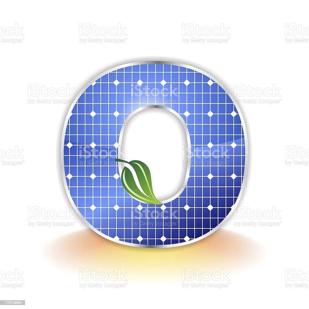 solar panels alphabet letter O royalty-free stock photo