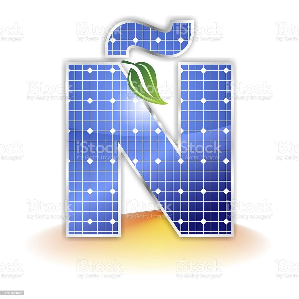 solar panels alphabet letter Ñ royalty-free stock photo