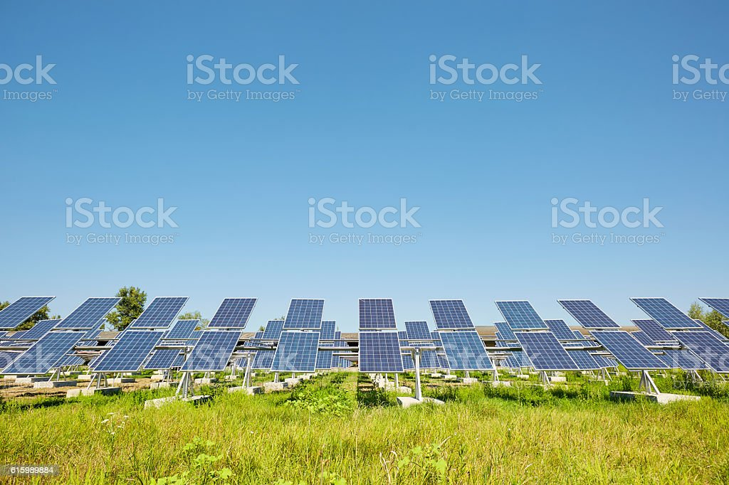 Solar panels. Alternative sources of power. farm. stock photo