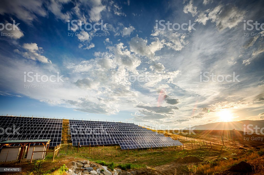 Solar Panels and Green Field Under Dramatic Sky at Sunset stock photo