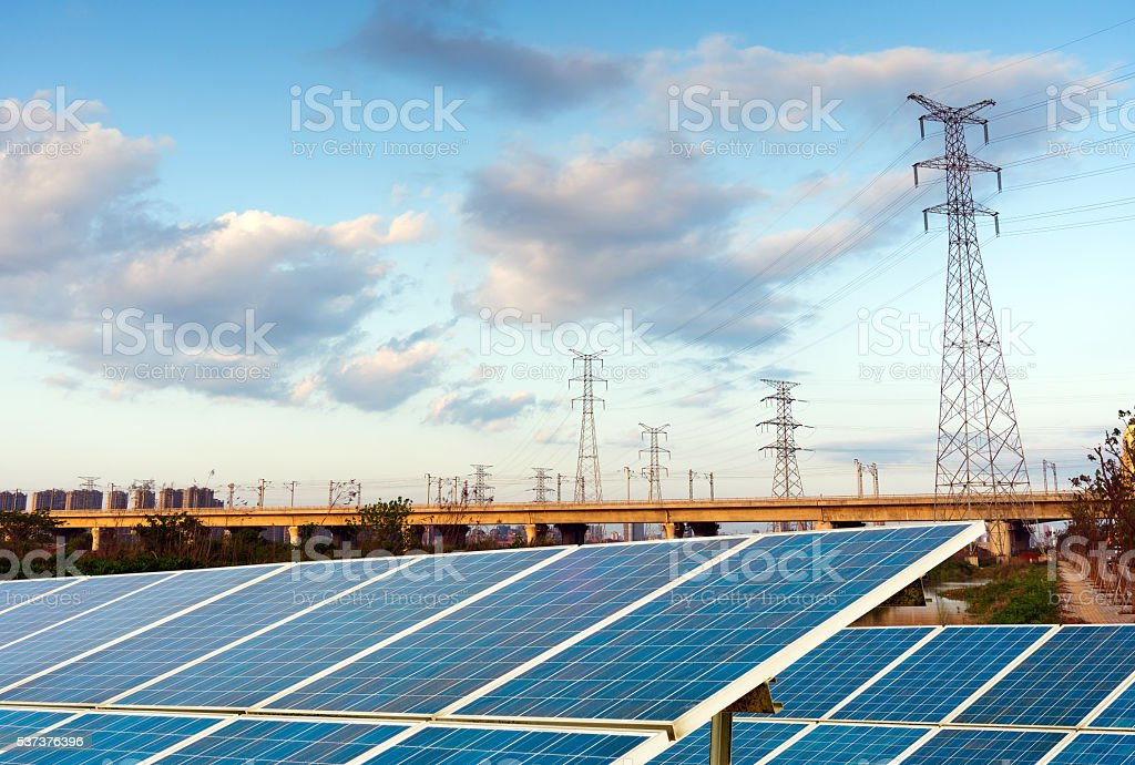 Solar panels and high-Tower stock photo