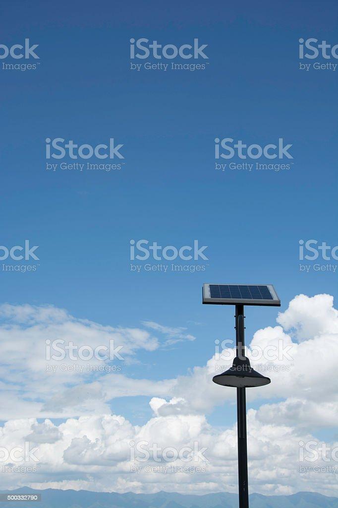 Solar panels and lamp royalty-free stock photo