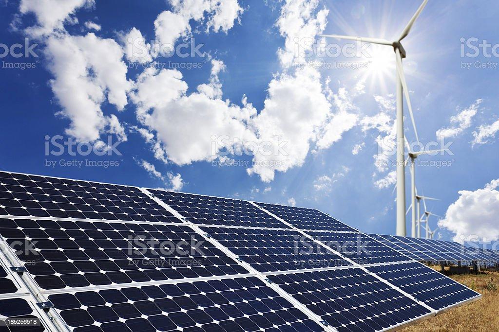 Solar panels and wind farm royalty-free stock photo