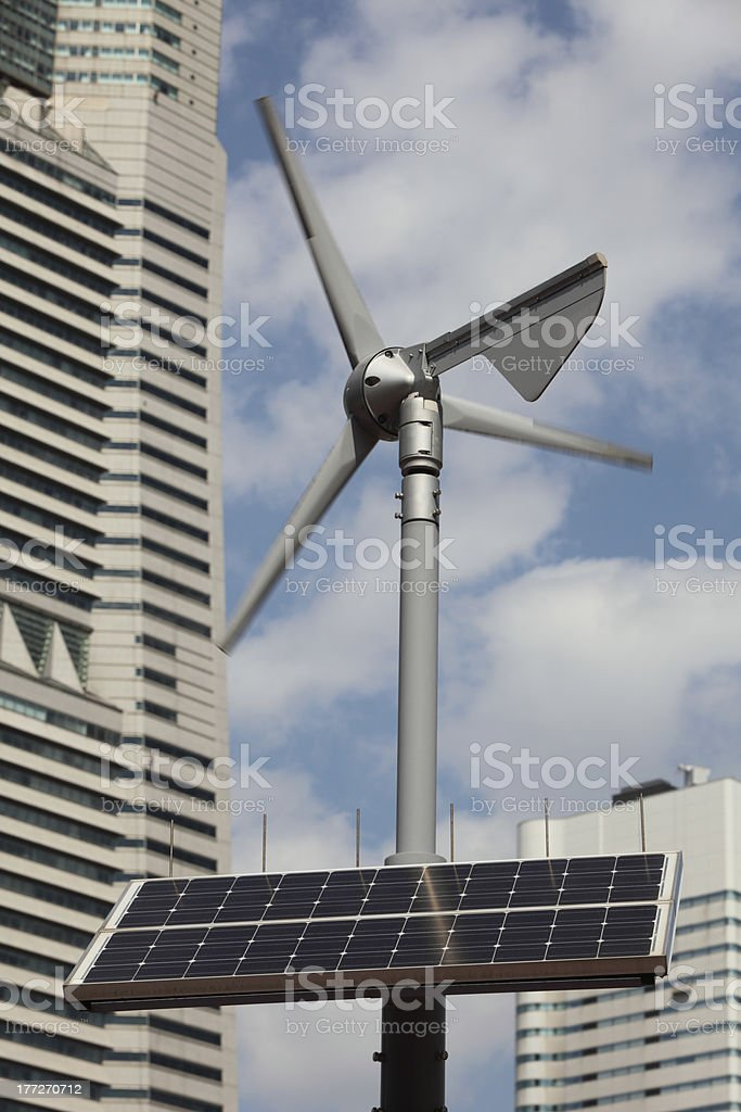 Solar panels and Wind Turbine royalty-free stock photo