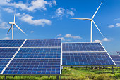 solar panels and wind turbines alternative energy from nature