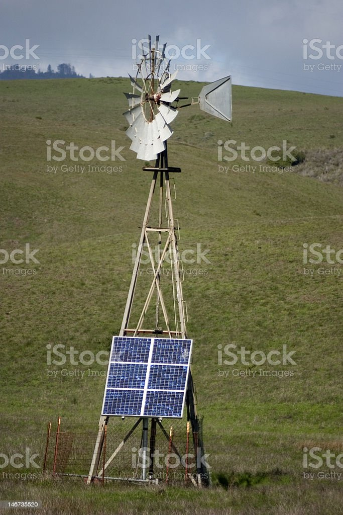 Solar Panels and Windmill royalty-free stock photo