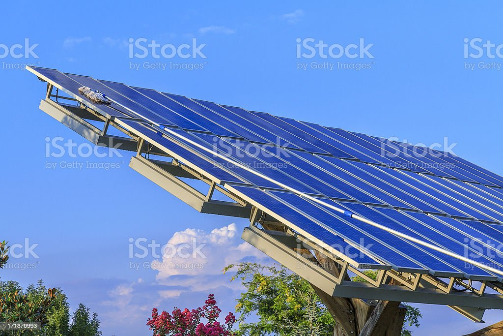 Solar panels cleaning stock photo