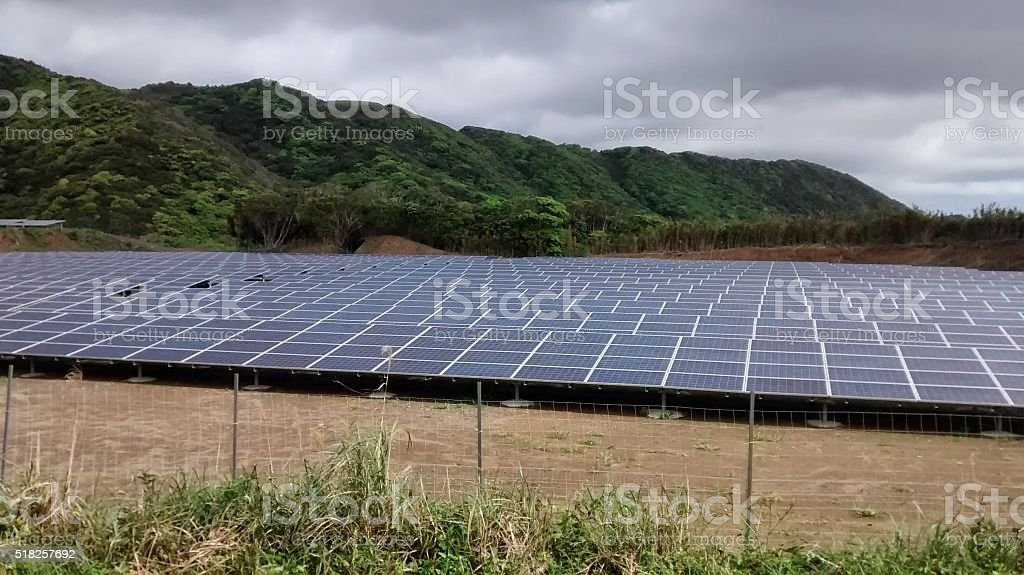 solar panels collecting heat from the sun in Japan stock photo