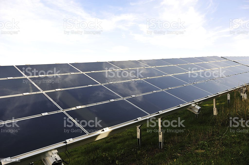 Solar panels energy field royalty-free stock photo