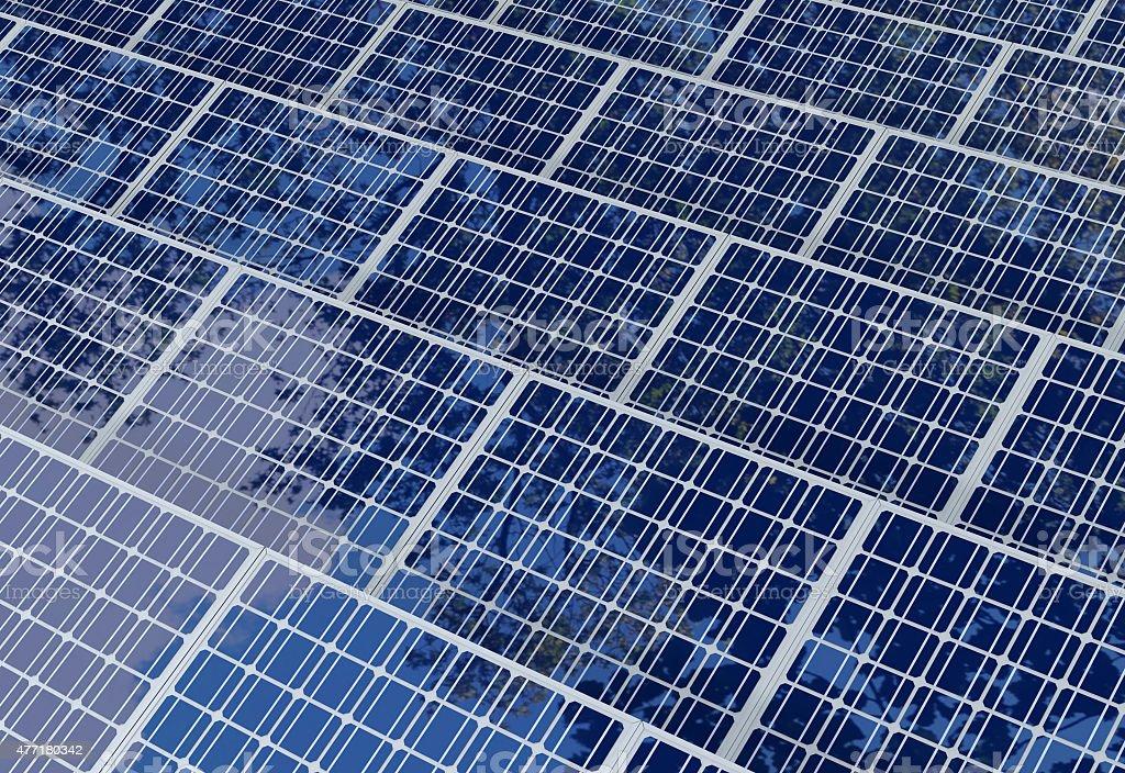 Solar panels field reflects sky and tree shades stock photo
