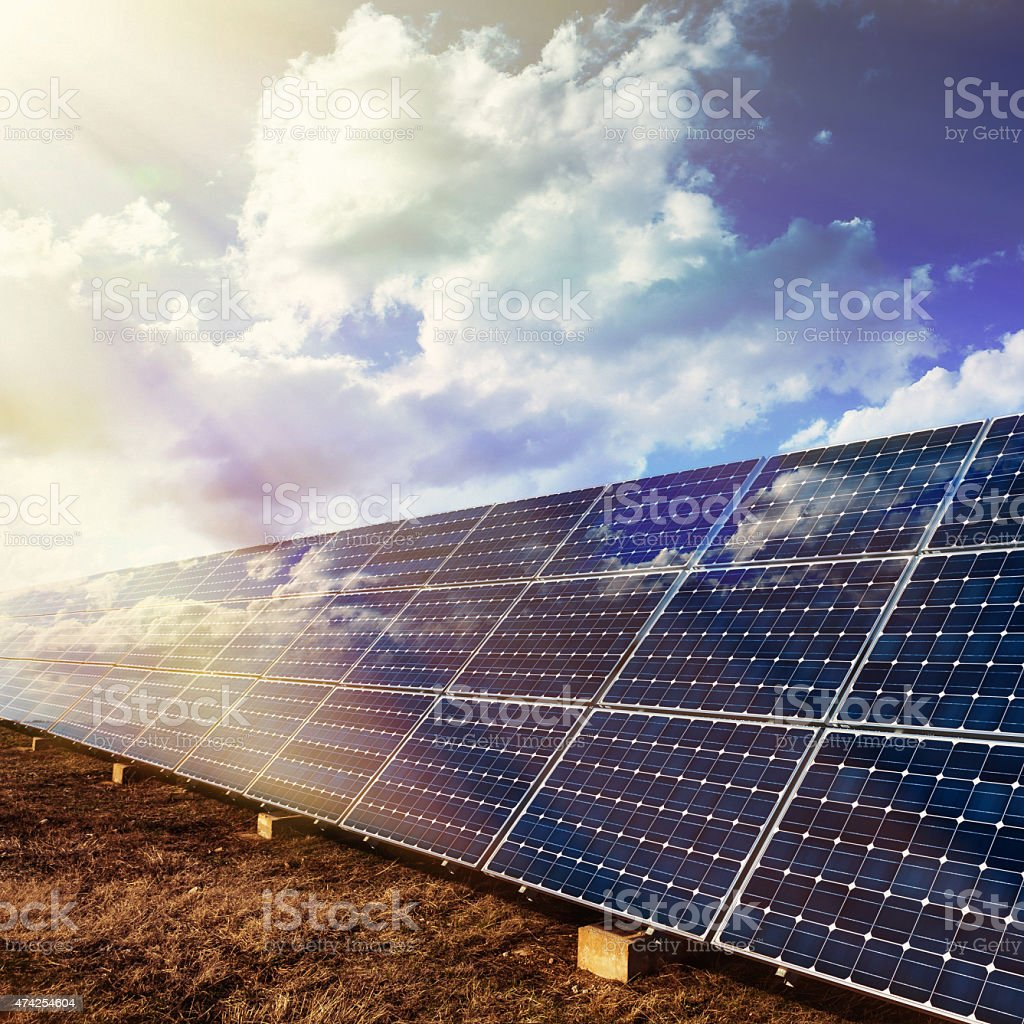Solar panels for renewable energy stock photo