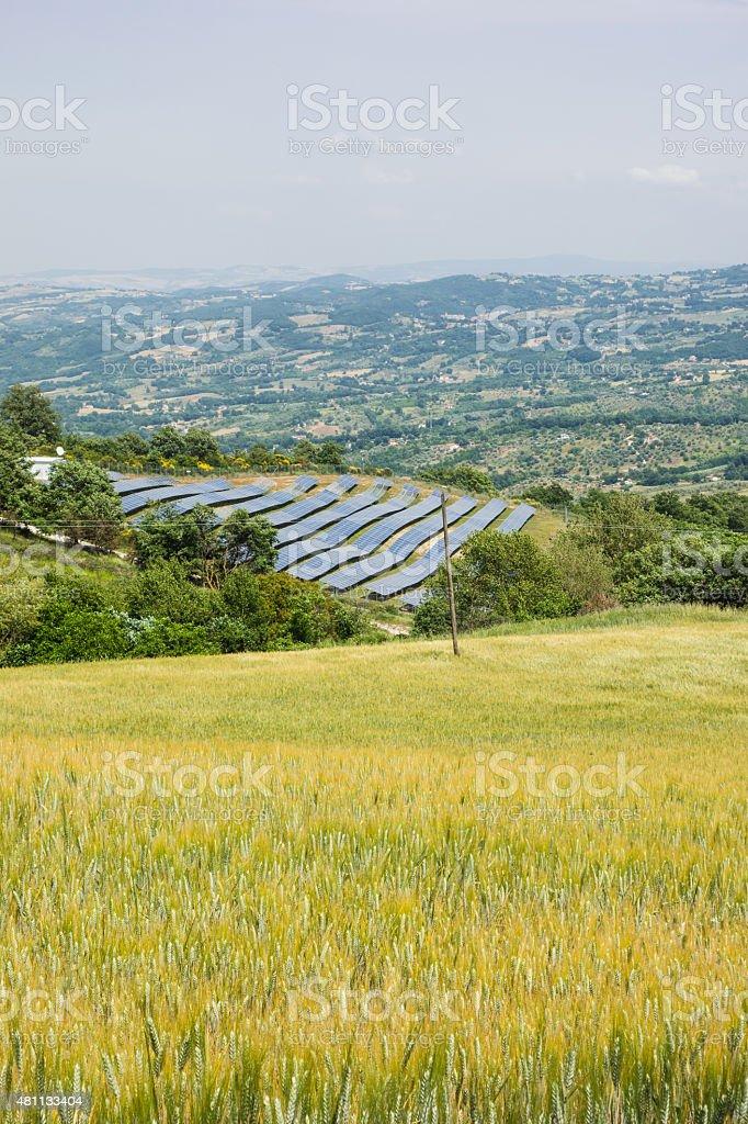 Solar Panels fro Green Energy in Molise, Italy stock photo