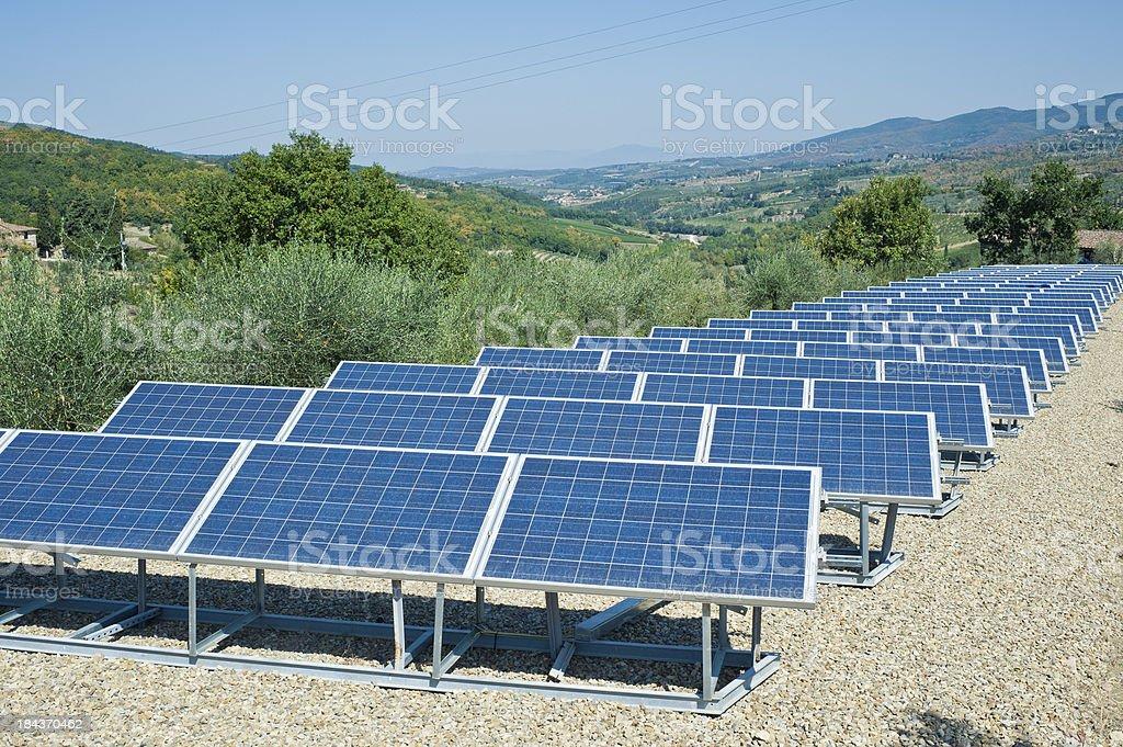 Solar Panels In A Field, Tuscany royalty-free stock photo