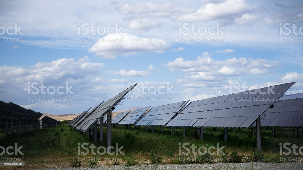 Solar Panels in a Row stock photo